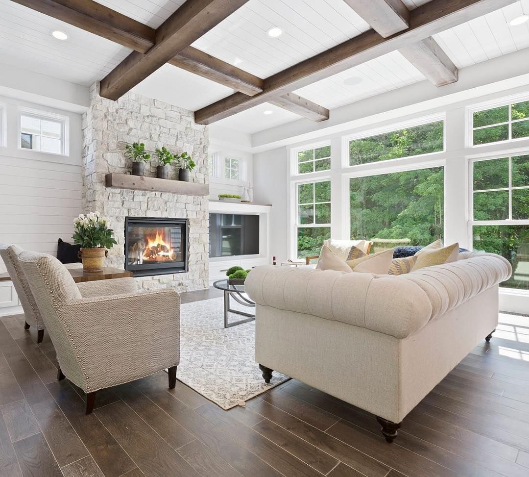 Wood beams and shiplap are the perfect combination in the Swanson ...