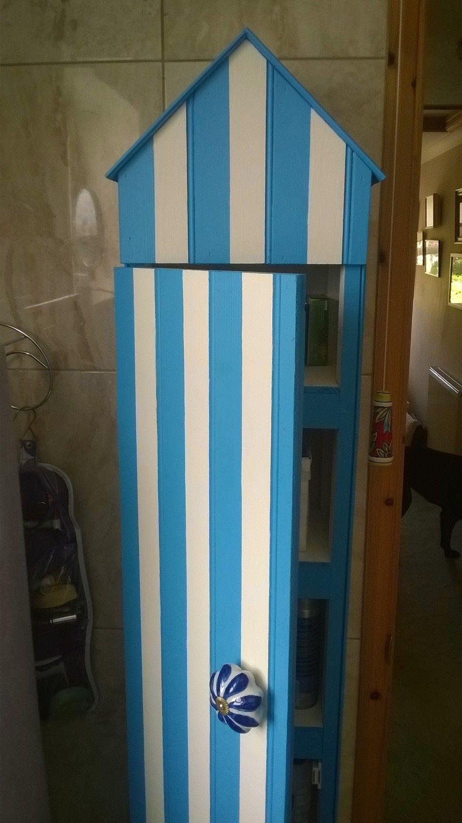 Beach hut style bathroom - Tall Beach Hut Style Bathroom Cabinet Made From Oddments Of Wood
