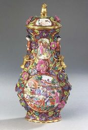 A rare Meissen porcelain Chinese style flower-encrusted cloisonné type vase and cover
