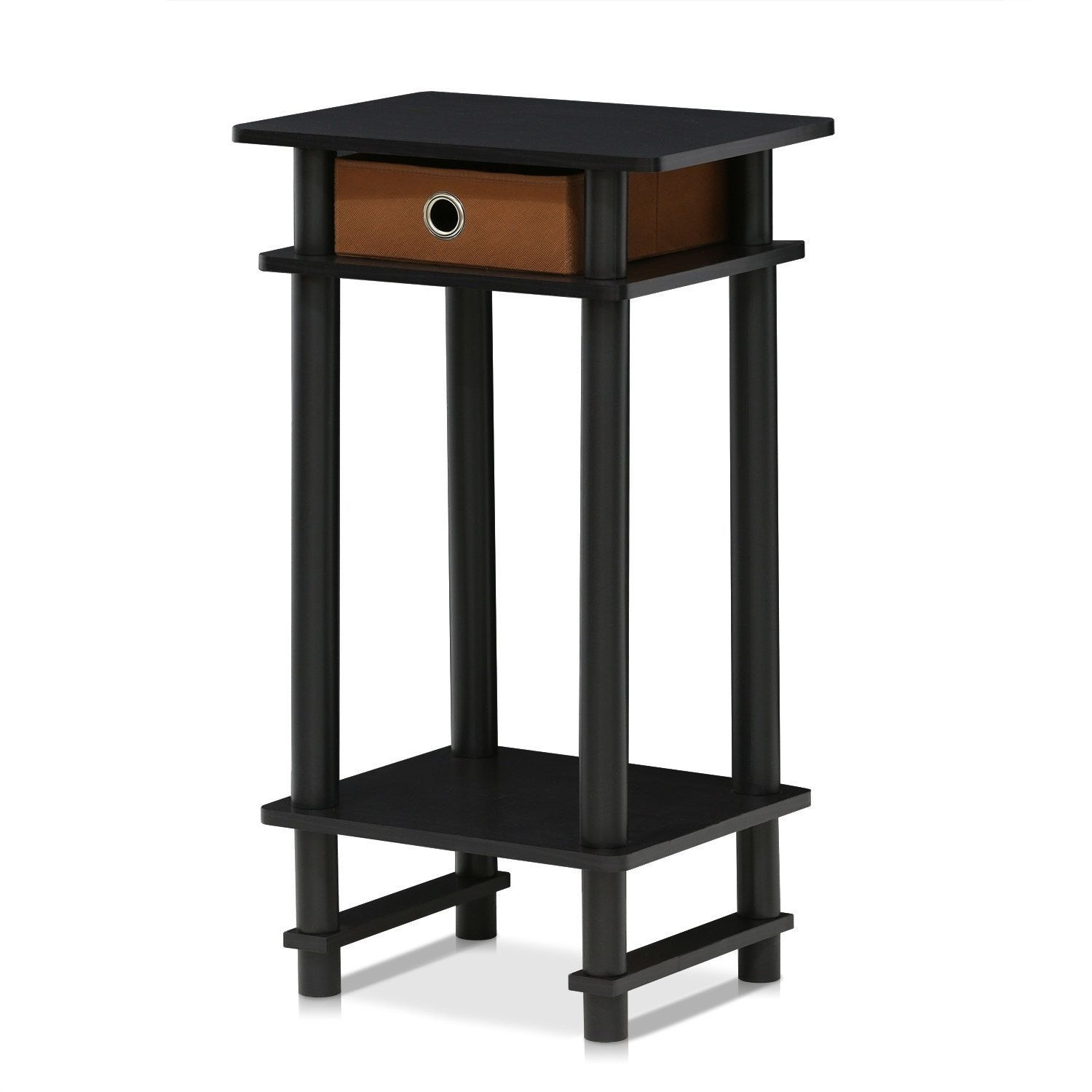 Furinno Turn N Tube Tall End Table with Bin Espresso Brown