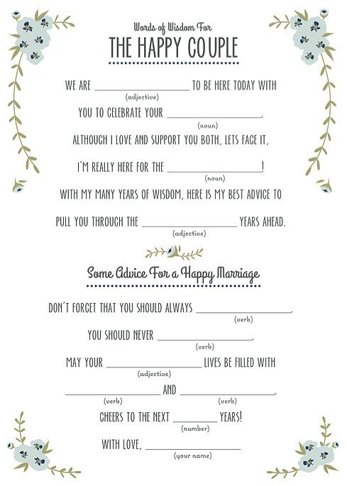 picture about Wedding Mad Libs Printable called Pin upon Alexas Marriage ceremony