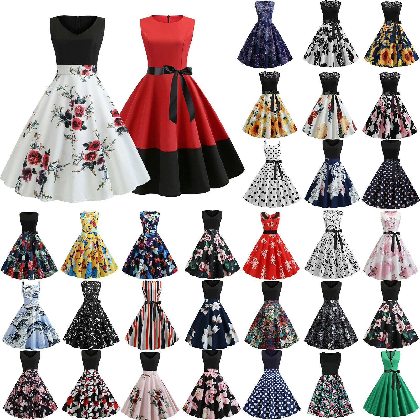 Damen Rockabilly Petticoat Kleid Hochzeit Party Abendkleid