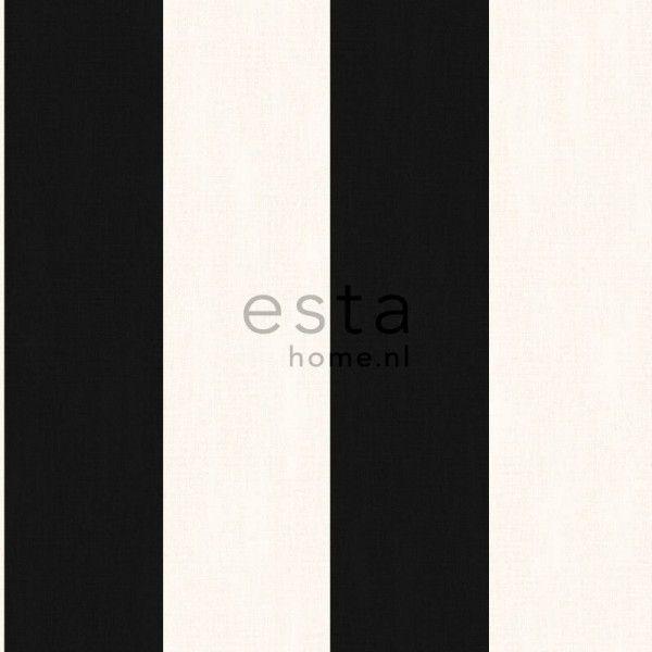 135415 HD vliesbehang brede linnen streep zwart wit
