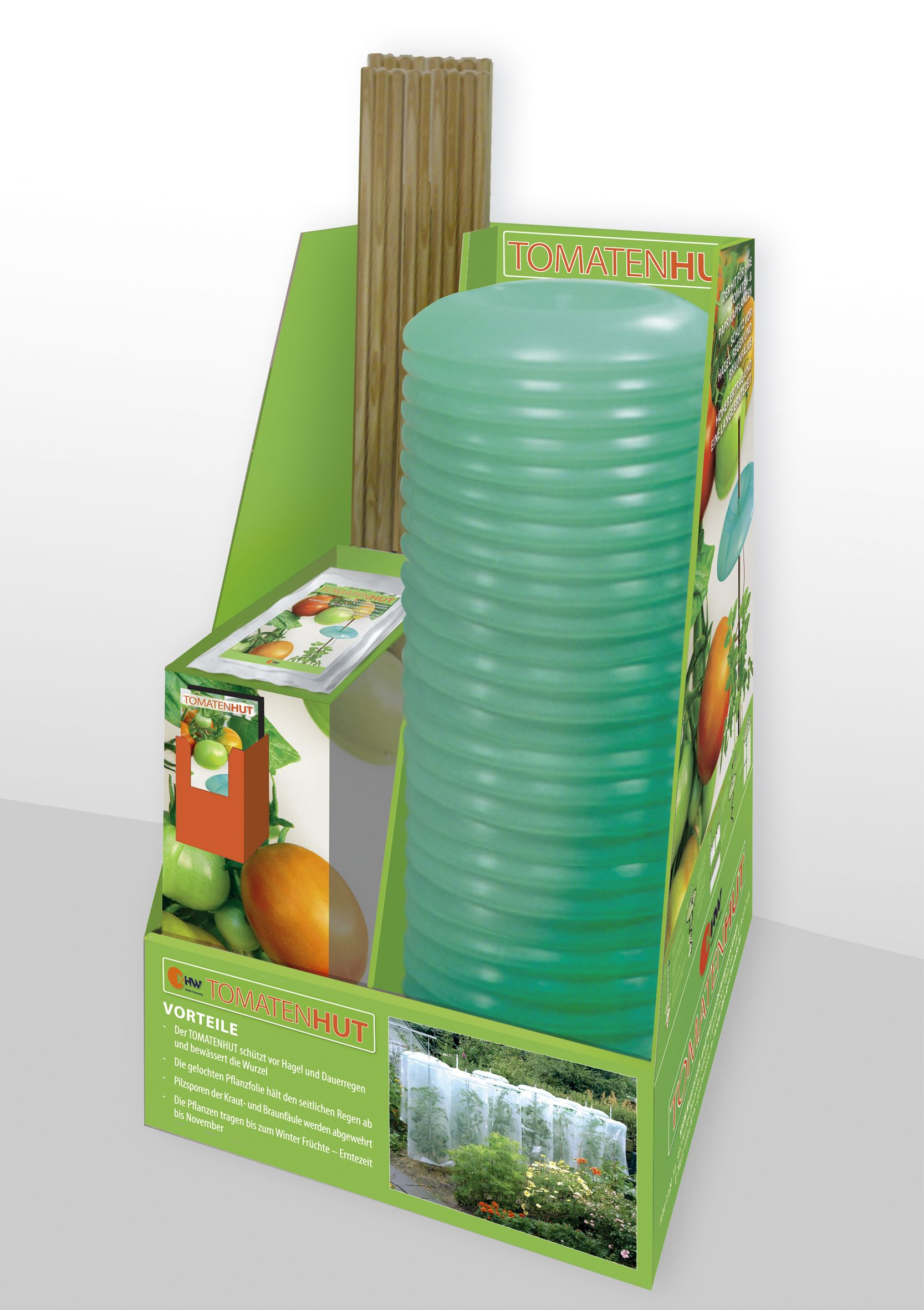 Einteiliges Verkaufsdisplay mit Dispenser für Gartenbedarf