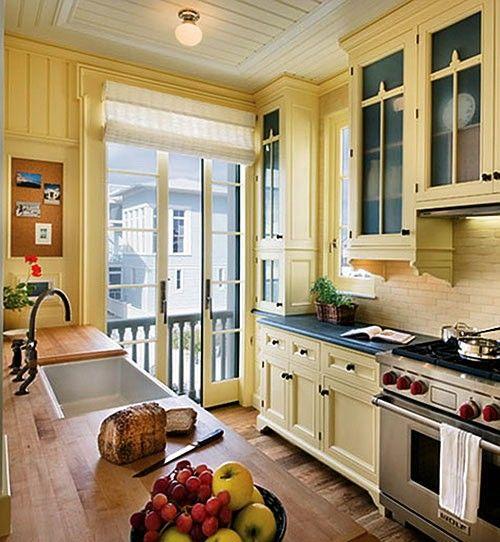 Pale Yellow Kitchen Cabinets: Butcher Block, Sliding Kitchen Doors, Open Cabinets