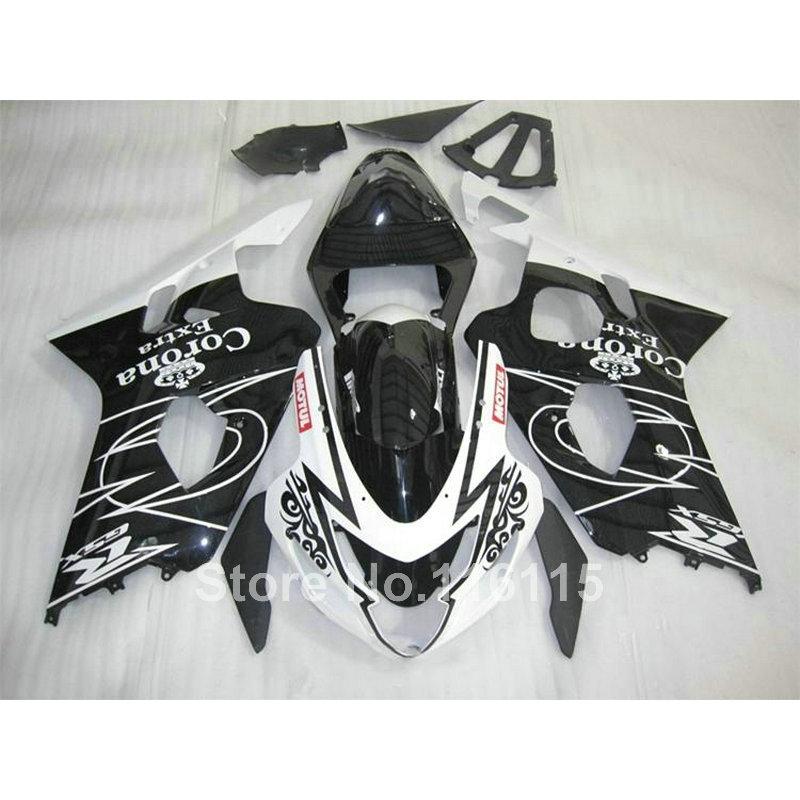 313.50$  Buy here - http://aliokl.worldwells.pw/go.php?t=32601137562 - Motorcycle fairing kit for SUZUKI GSXR 600 750 K4 2004 2005 black white Corona GSXR600 GSXR750 04 05 fairings set YV35