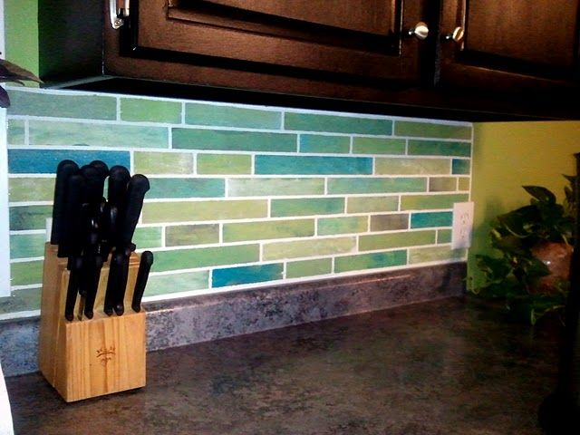 Painted Tile Backsplash Done With Acrylic Paint Kitchen Decor Inspiration Faux Tiles Kitchen Surfaces