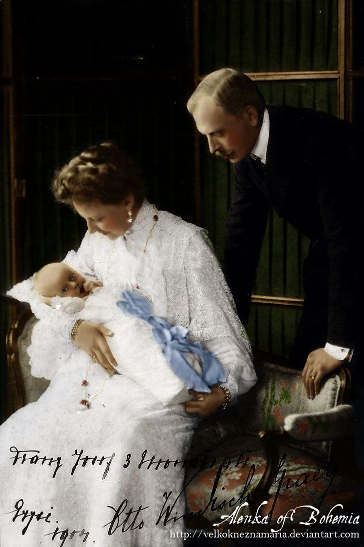 "Archduchess Elisabeth ""Erzsi"" (Elizabeth Maria) (1883-1963) Austria with husband Prince Otto von Windisch-Grätz (1873-1952) Austria holding 1st Child, Prince Franz Joseph (1904-1981).  She was the only child of Crown Prince Rudolf (1858-1889) Austria  Princess Stéphanie (1864-1945) Belgium. She was raised by her Grandfather Emperor Franz Josef when in 1889 her father Rudolf  his mistress Mary Vetsera were found dead in a murder-suicide pact at the Imperial hunting lodge in Austria."