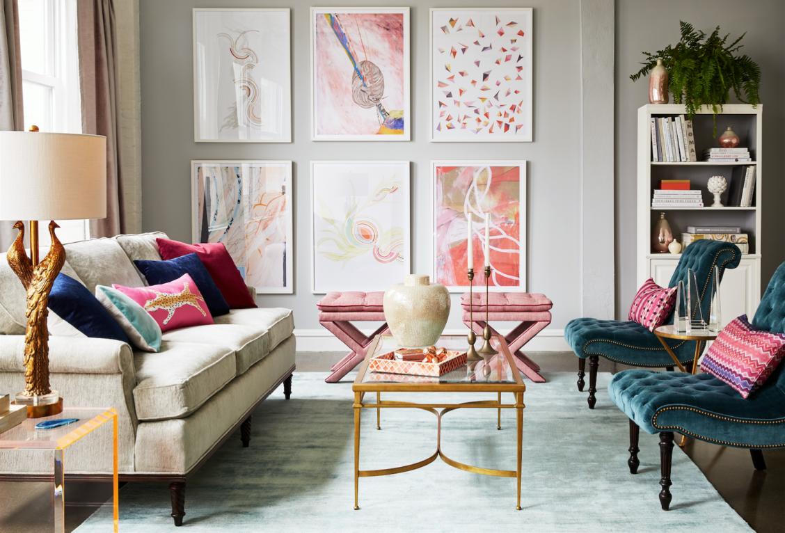 Feminine And Glamorous Living Room Design With Luxe Velvets Gold