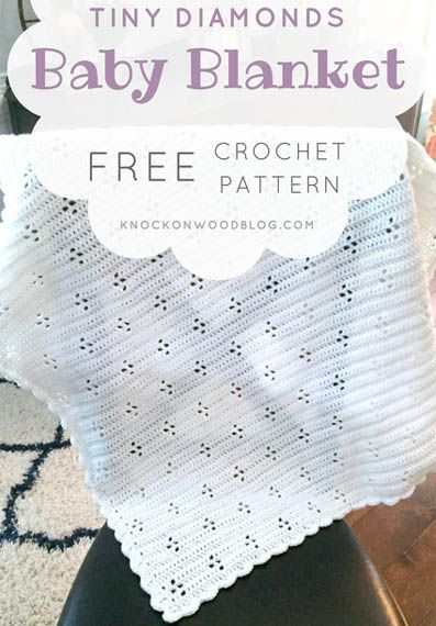 Free Crochet Pattern Tiny Diamonds Baby Blanket -