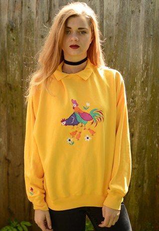 Vintage+funky+yellow+jumper