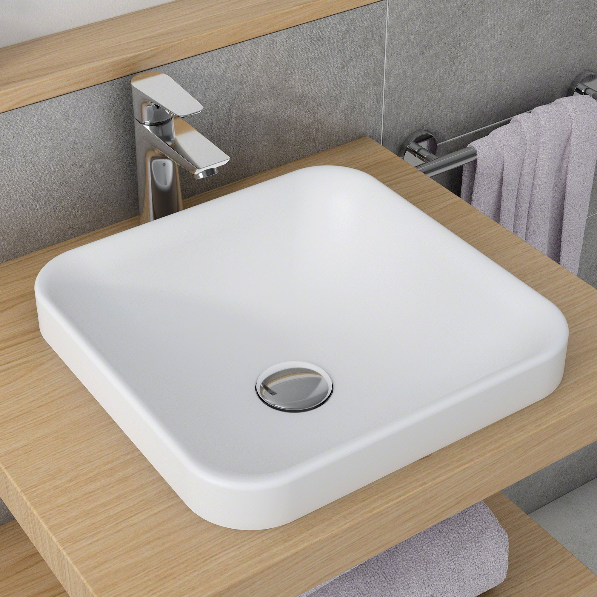 Kraus Natura Square Semi Recessed Composite Bathroom Sink With