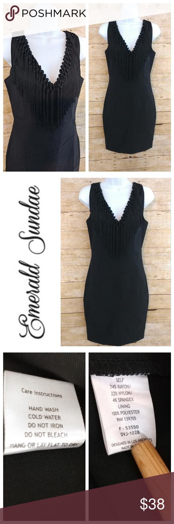 Emerald sundae black dress emeralds tassels and neckline