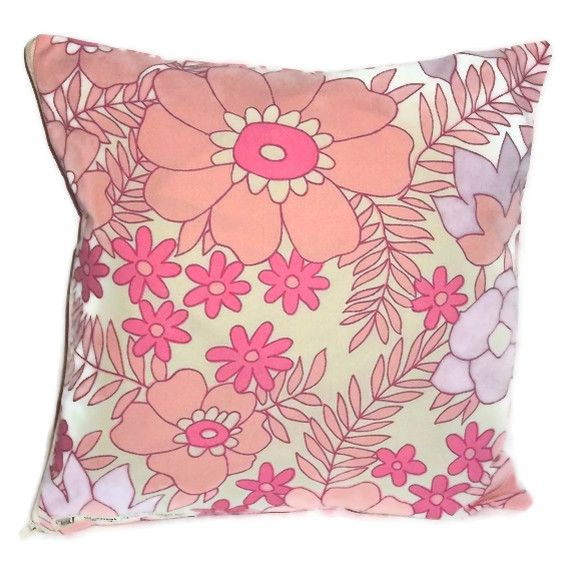OOAK Vintage 1970s  light cotton reversible cushion cover with zip fastening 35cm #wowthankyou #craftfest #vintage