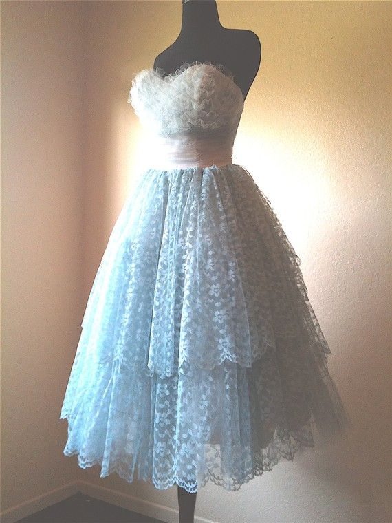 Vintage 1950's 50s Baby BLUE Lace Sequins Pearls Prom Party ...
