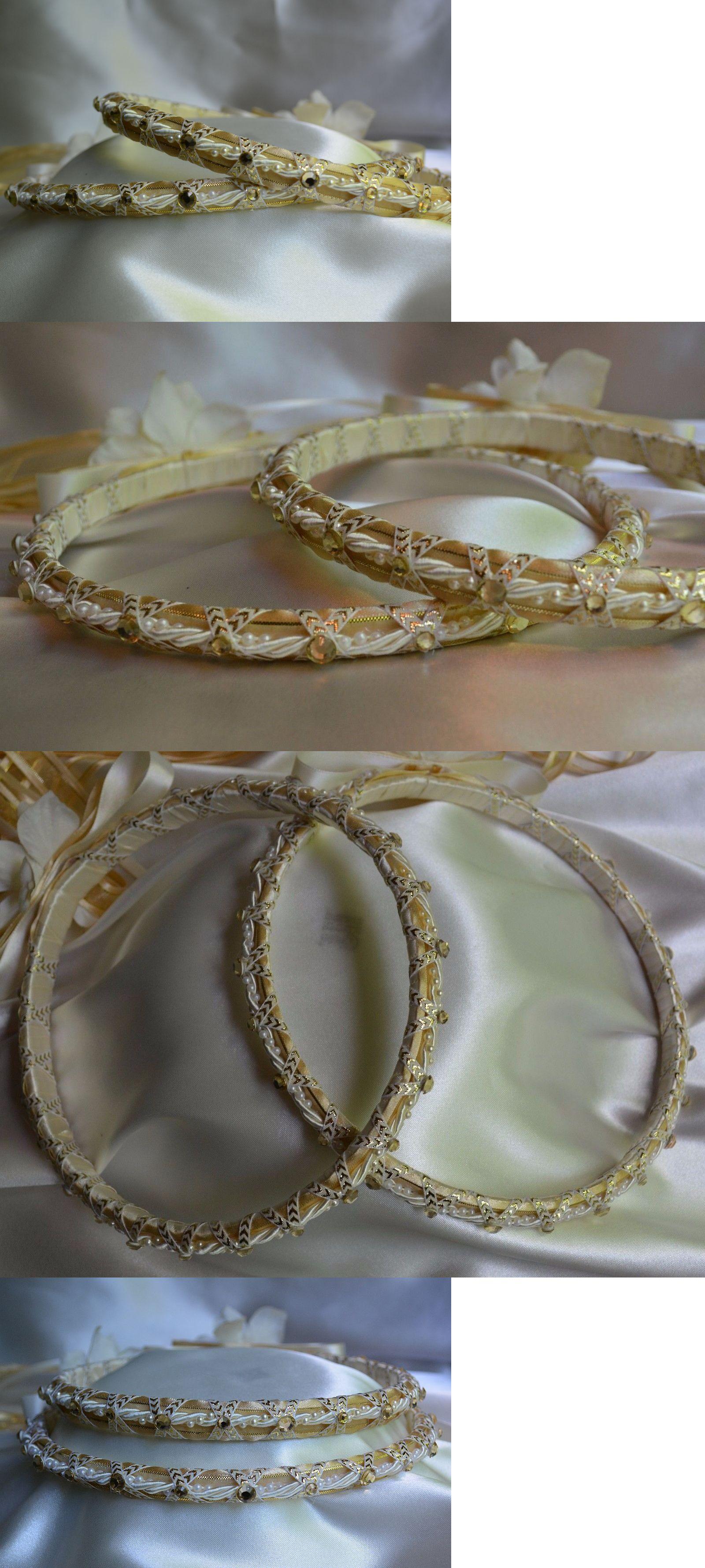 Greek Stefana Orthodox Wedding Bridal Tiara Crowns Ivory Gold Rhinestone