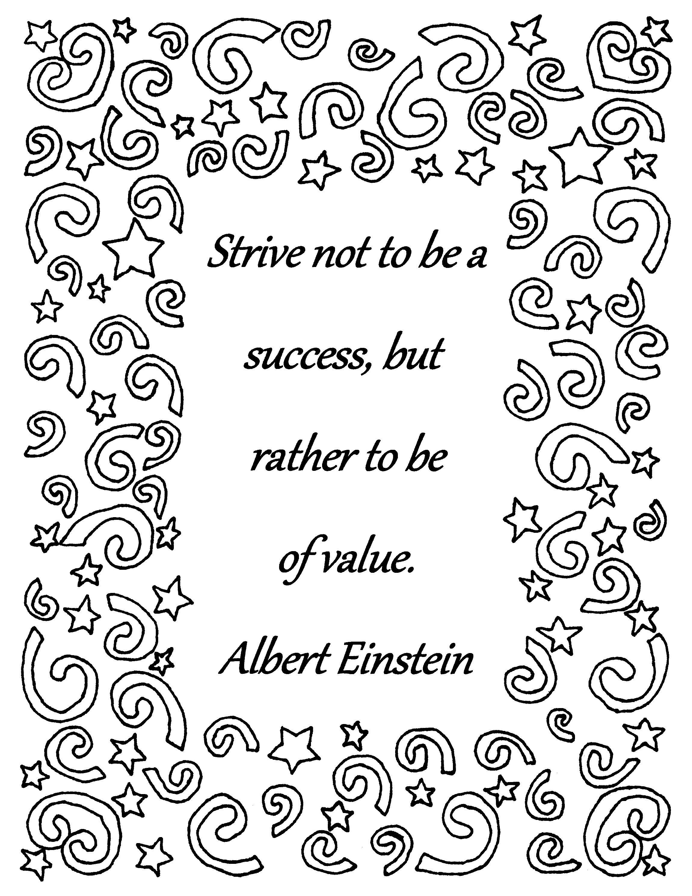 Strive Not To Be A Success Albert Einstein Quote Coloring Page