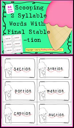 Scooping 2 Syllable Words With Final Stable -tion ...