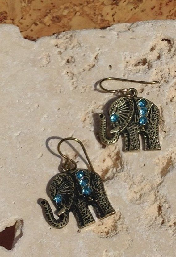 Gold Antiqued Br Elephant With Sparkly Blue Crystal Hangs From Niobium Earring Hooks Perfect Hypoallergenic Option For Sensitive Ear Allergy Free
