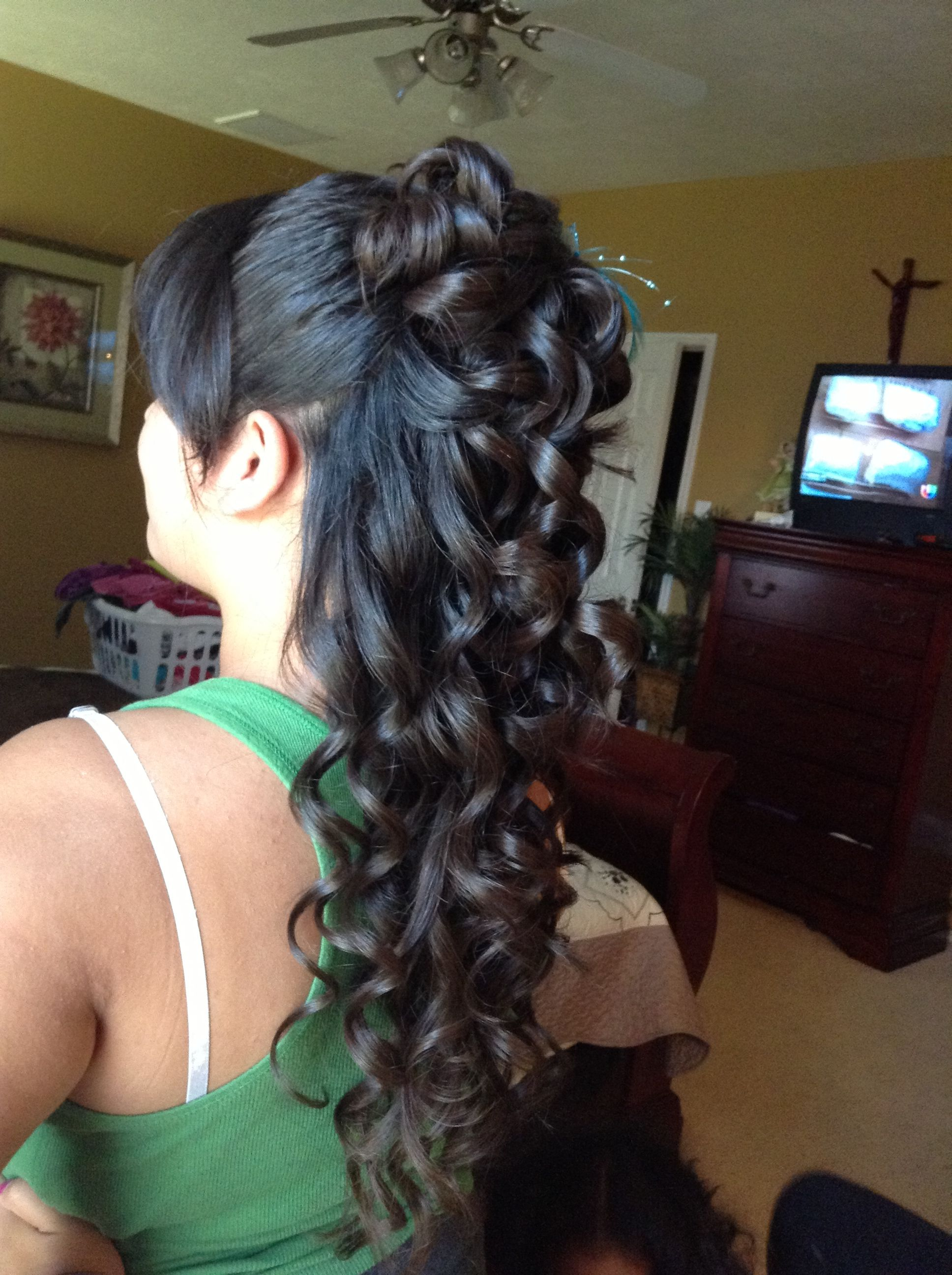 Quinceanera Hairstyle Just Add The Dyed Purple And Blue Pieces