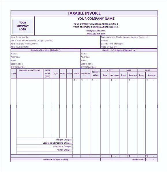 Image result for gst invoice format in excel download Fonts - rent invoice