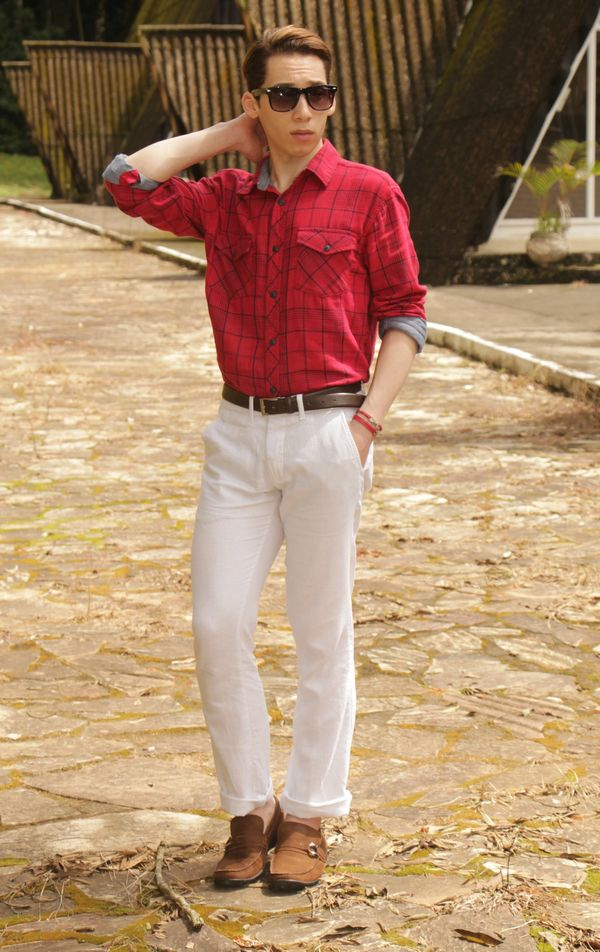 Men's Red Plaid Long Sleeve Shirt, White Chinos, Brown Suede Driving Shoes,  Dark Brown Leather Belt