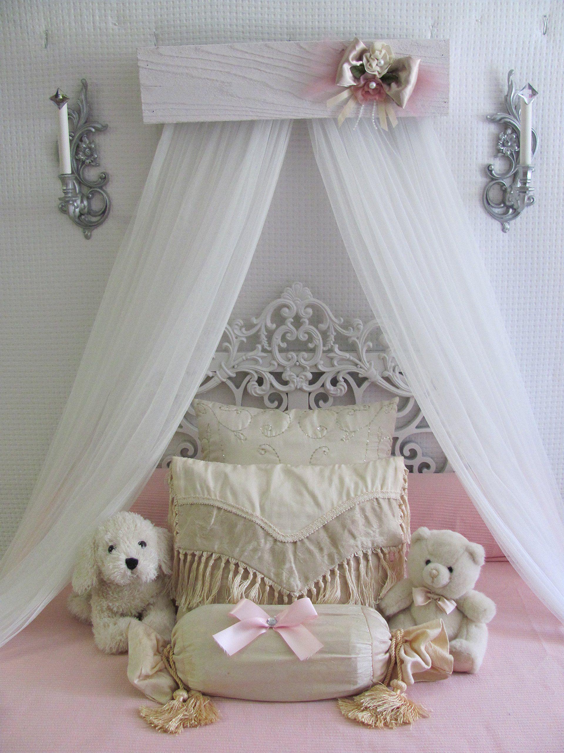 Princess Bed Crown Canopy Crib Baby Nursery Decor Shabby Chic Princess Girlu0027s Bedroom FREE White curtains & Princess Bed Crown Canopy Crib Baby Nursery Decor Shabby Chic ...