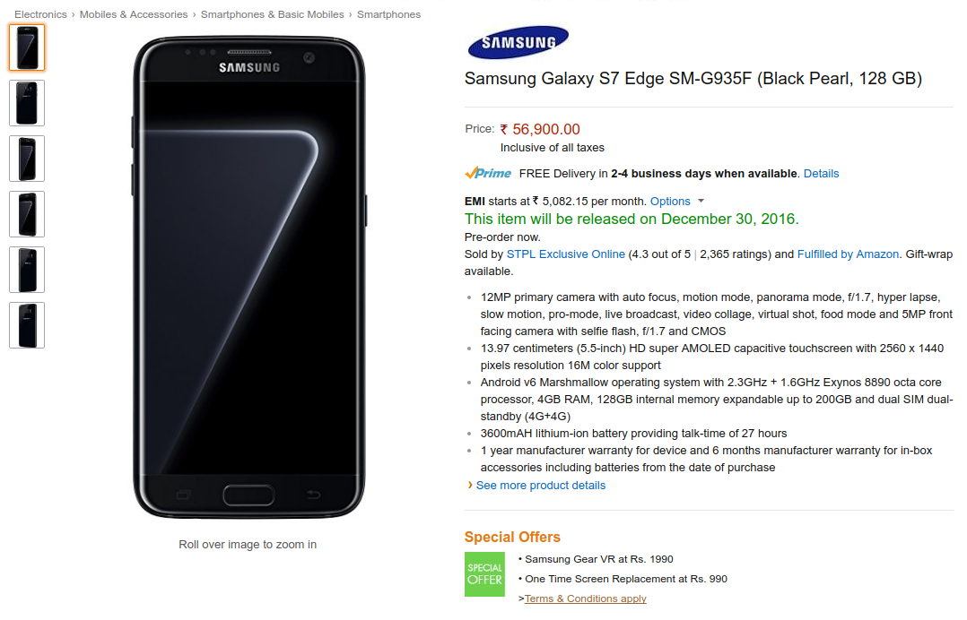 Buy Samsung Galaxy S7 Edge Black Pearl In India On Amazon Pre Order Fliphotdeals Samsung Galaxy Samsung Samsung Galaxy S7 Edge