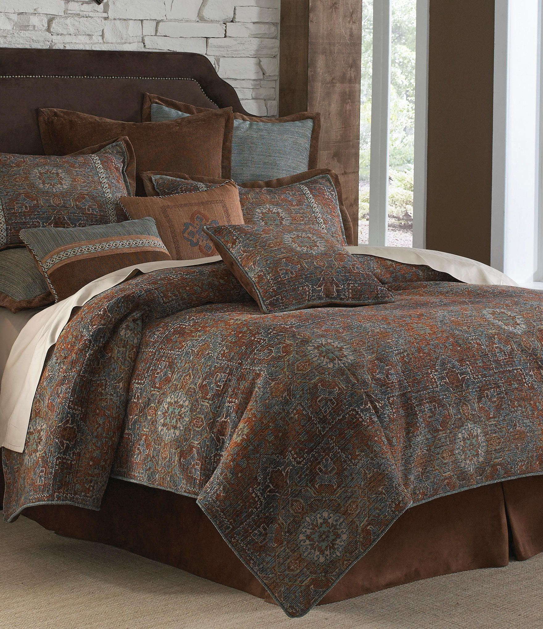 Bold Hues Combine Upon Caracas Southwest Comforter Bedding By Veratex(R).  Oversized Comforter Features A Beautifully Intricate Southwestern Design.