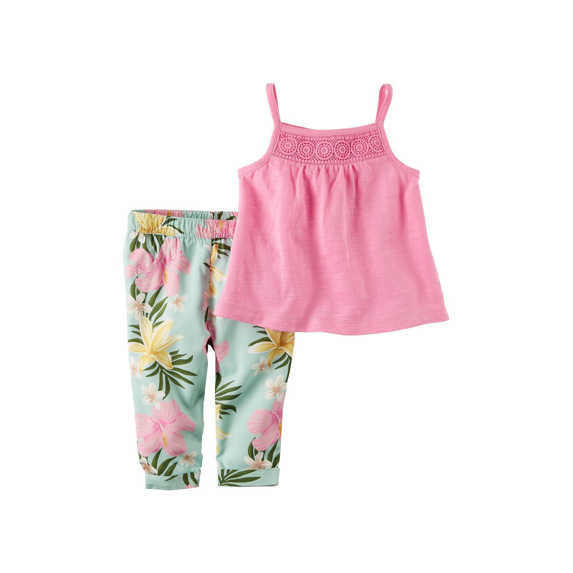 Baby Girl Carter's Crochet Tank Top & Floral Pants Set, Size: 18 ...