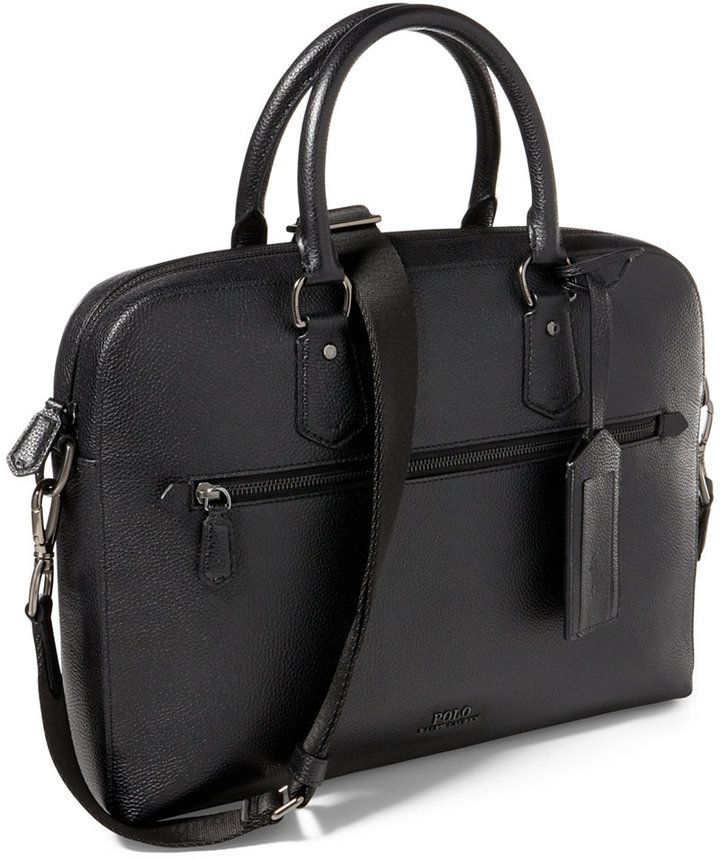 Polo Ralph Lauren Men s Pebbled Leather Briefcase   men s bag ... 0339cd119a