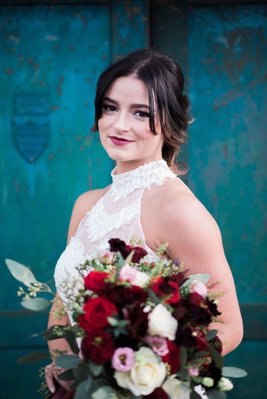 Bohemian Bride in Ti Adora wedding gown outside The Wel… | Burgundy ...