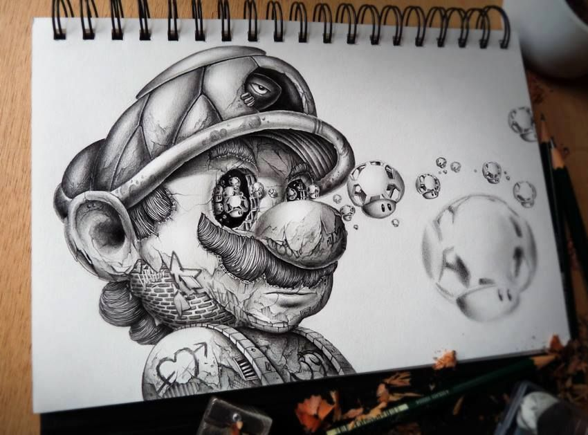 Mario Bros Blanco Y Negro Dibujo Dibujos Art Sketches Art