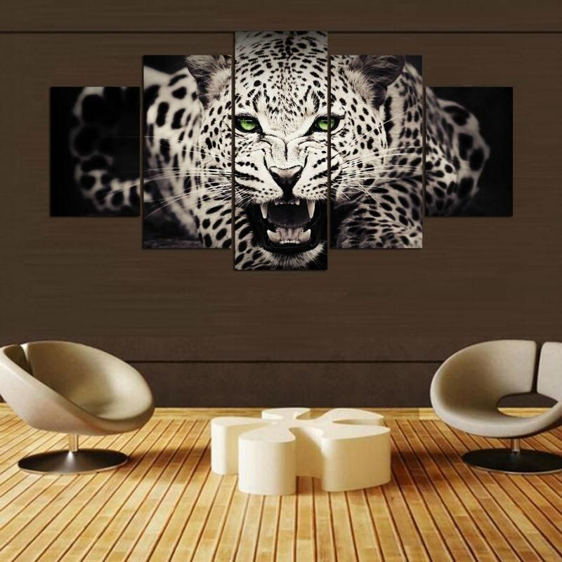 Art Wall Modern Animal Leopard painting living room Home Decor Printed on canvas