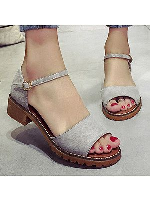 Low Heeled Velvet Ankle Strap Peep Toe