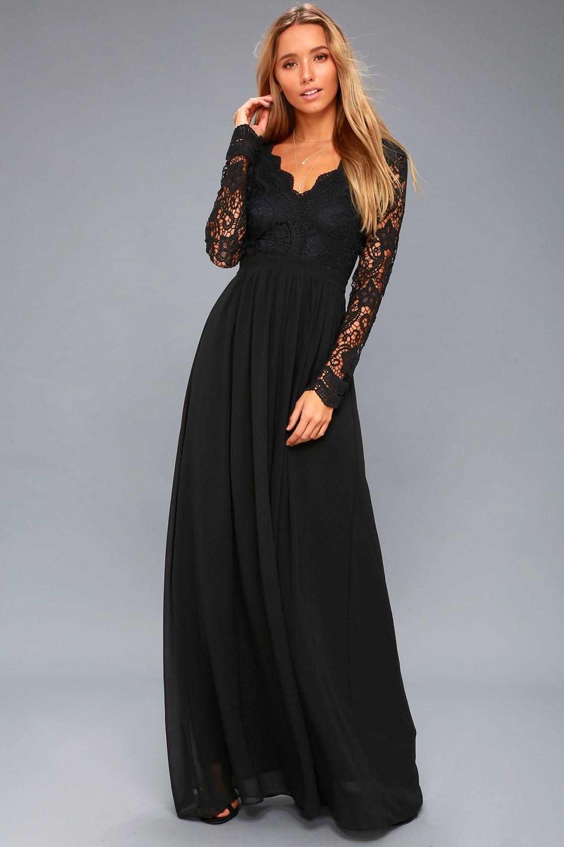 Lovely Black Dress Maxi Dress Lace Dress Gown In 2020 Long Sleeve Lace Maxi Dress Black Lace Dress Long Long Sleeve Dress Formal