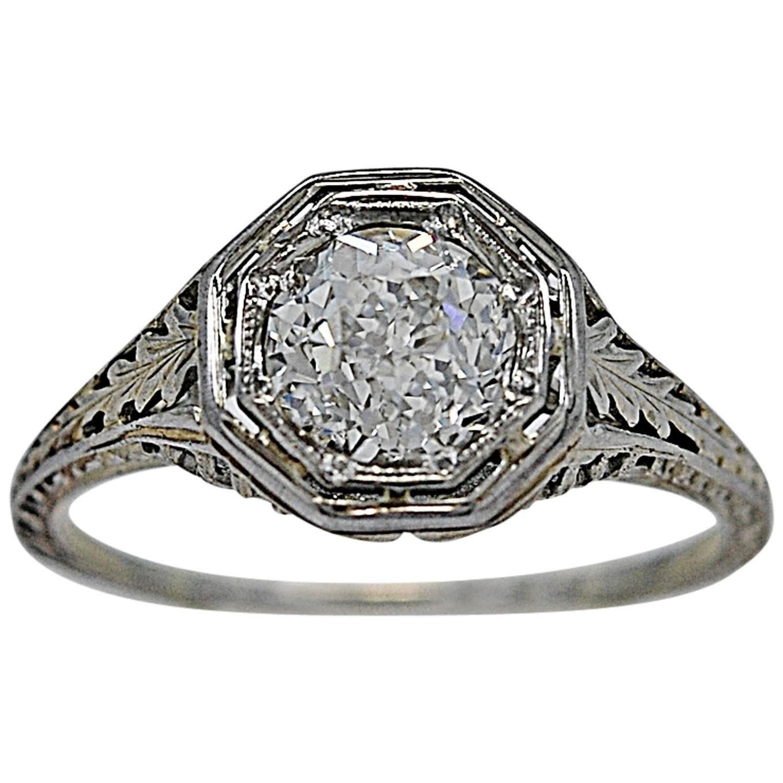 Art deco carat diamond gold engagement ring gold engagement rings