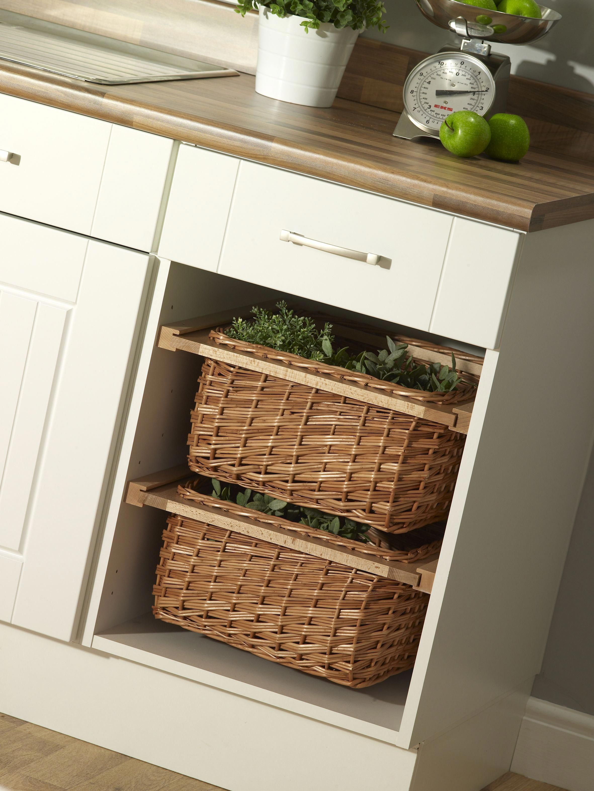 Wicker Baskets Create A Stylish Storage Alternative To Shelving Or Modern Drawers Kitchen Ideas Kitchen Inspiration Modern Kitchen Design White Modern Kitchen