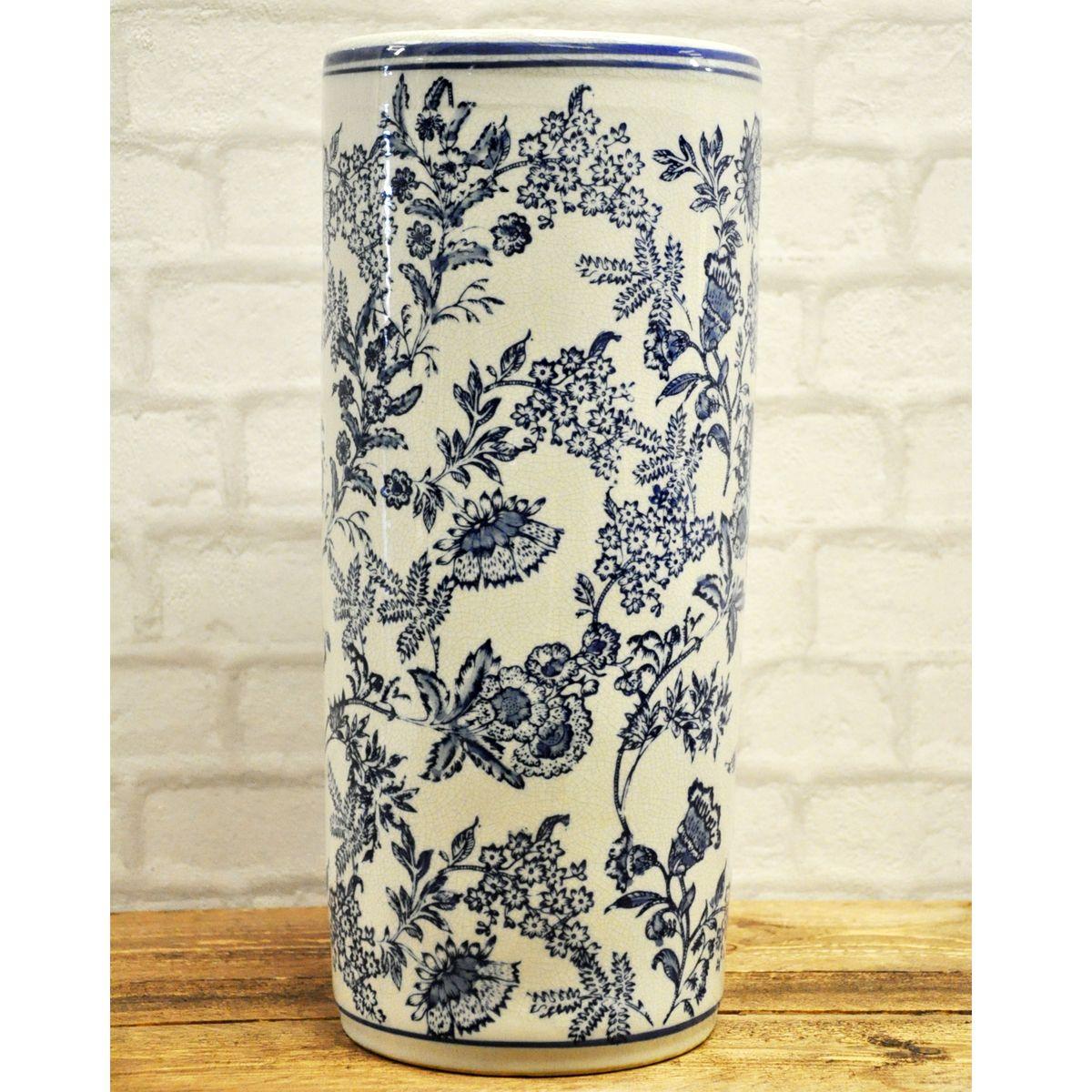 Blue & White Vintage Style Ceramic Floral Umbrella Stand | Decor ...