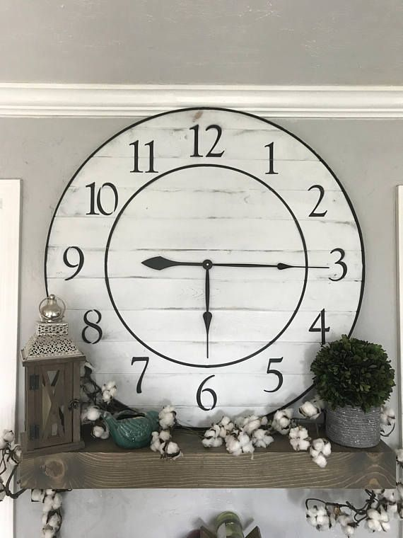 Handcrafted Oversized Wall Clock This Clock Is Assembled With Wood The Wood On It Has Been Sanded Until Smoot Big Wall Clocks Rustic Wall Clocks Clock Decor