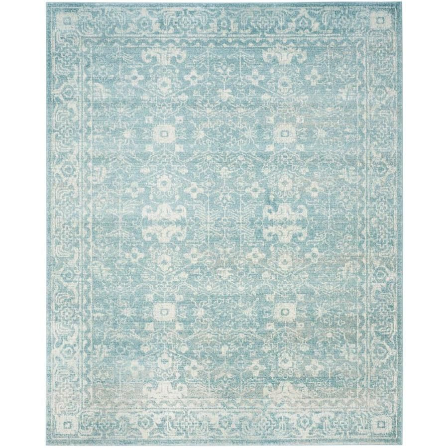 Safavieh Evoke Likoma 11 X 15 Light Blue Ivory Indoor Distressed Overdyed Vintage Area Rug Lowes Com Traditional Area Rugs Vintage Area Rugs Area Rugs
