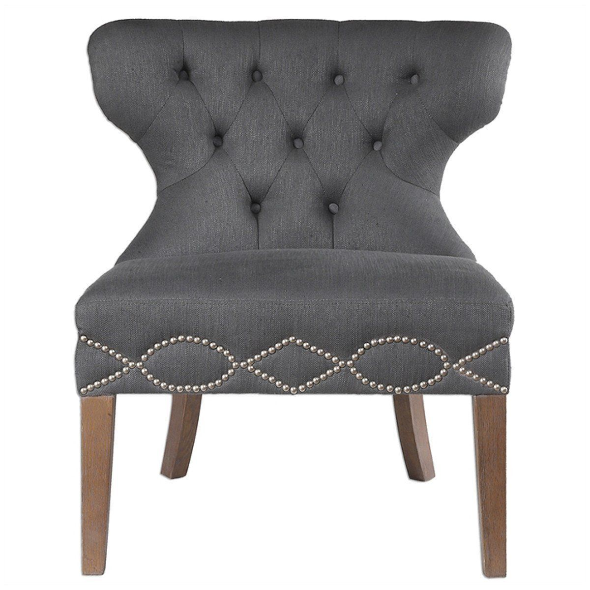 Best Uttermost Shafira Charcoal Gray Armless Chair Armless 400 x 300