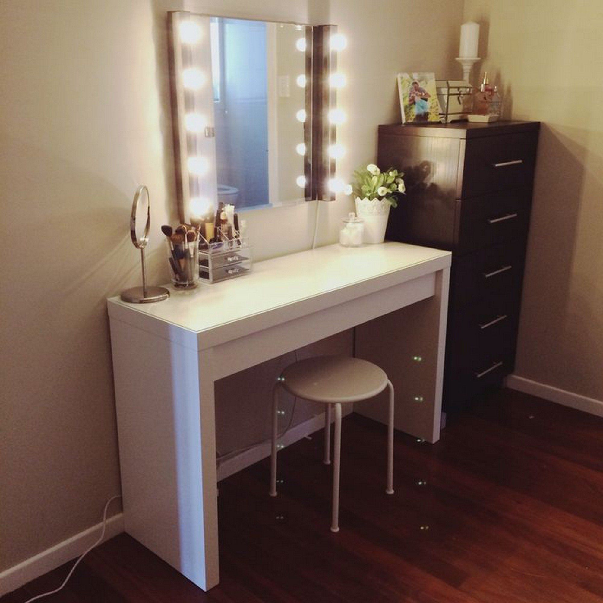 with table mirror makeup tribesigns dresser bedroom set proinfo desk vanity lighted black dressing