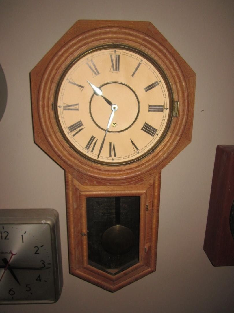Antique ansonia school house wall clock c1900 octagonal wall beautiful old ansonia wall clock for restoration or use as amipublicfo Gallery