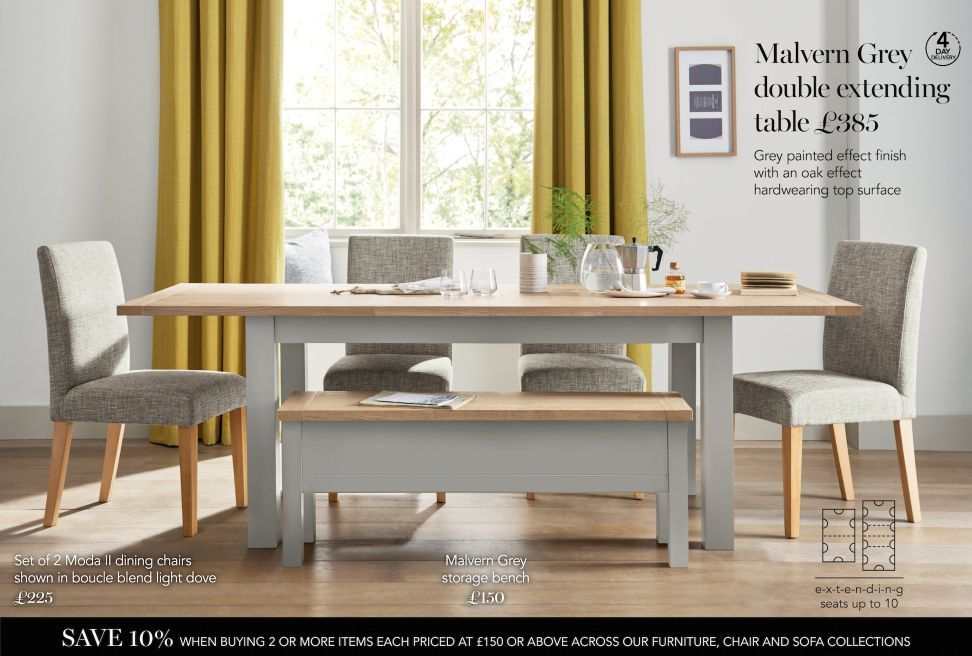 buy malvern grey 610 seater double extending dining table