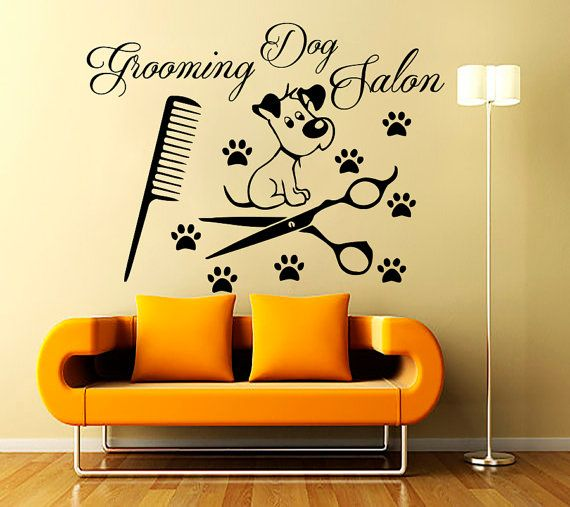 Wall Decals Grooming Salon Decal Vinyl Sticker Dog Pet Shop Home