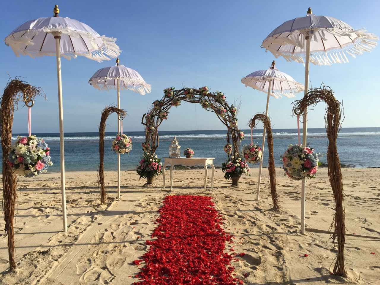 Bali wedding venues on the beach  Wedding at Basilico beach with full decoration Denpasar Indonesia