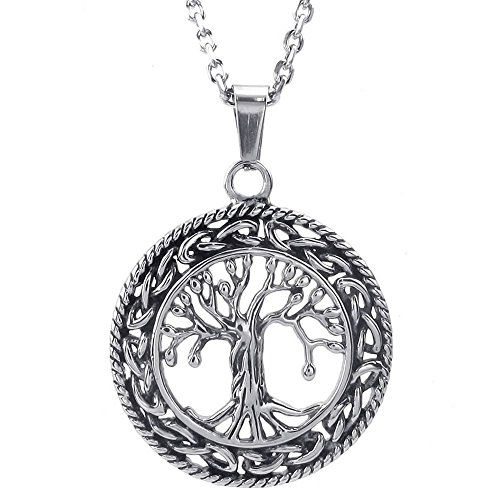 7b0b50d82a9992 KONOV Mens Womens Celtic Tree of Life Stainless Steel Pendant Necklace,  Silver, 24