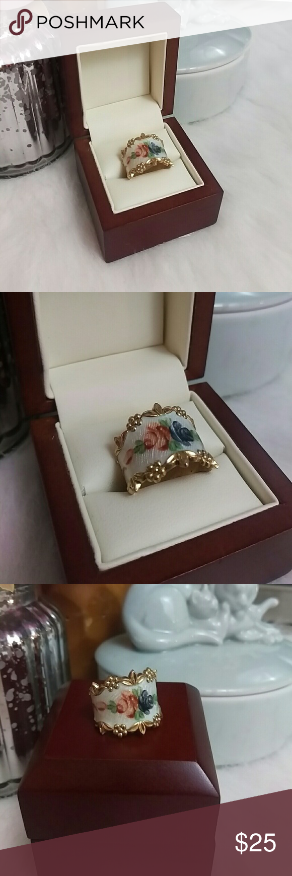 Vintage gold plated sterling silver floral ring Hand painted flowers on glass (I think) set in gold plated sterling silver. Stamped Sterling. Size 8 Jewelry Rings