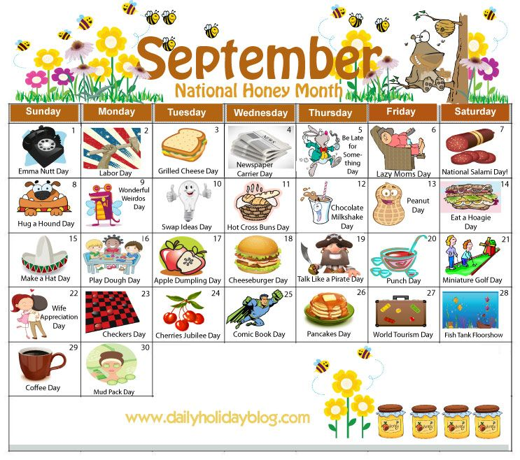 September Daily Holiday Calendar Calendars Pinterest Daily